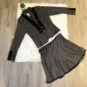 Maurices skirt jacket 2 piece suit Large gray